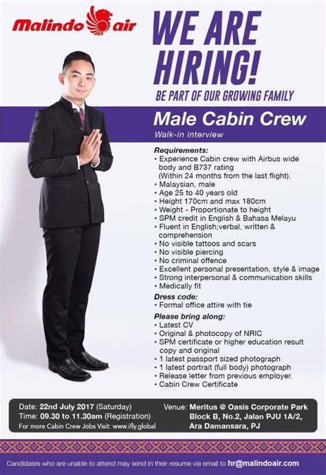 malindo air recruiting experienced male cabin crew july