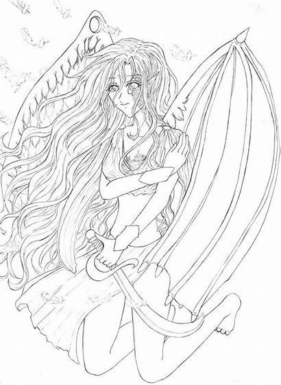Angel Drawings Fallen Drawing Anime Template Coloring