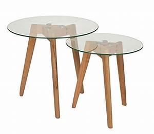 Beistelltische Holz : ts ideen 2er set design glas beistelltische rund holz ~ Pilothousefishingboats.com Haus und Dekorationen