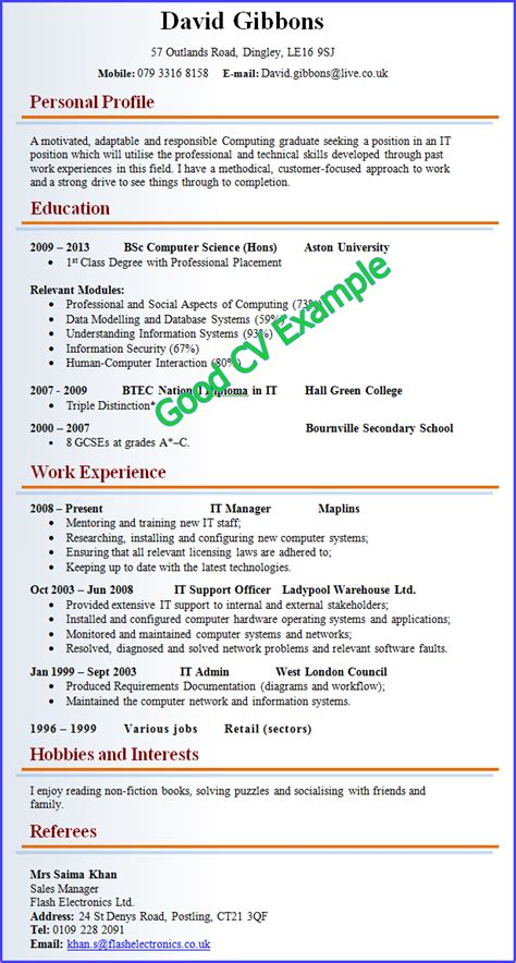 a exle of resume business templated