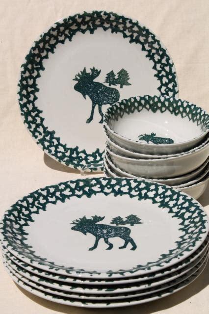 moose country green sponge ware stoneware dinner plates
