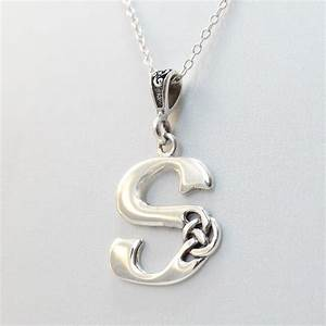 sterling silver celtic initial letter s necklace With letter s necklace silver