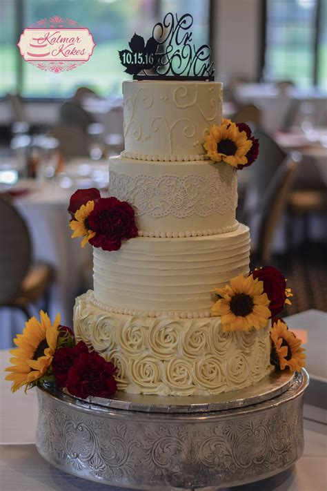 Fall Buttercream Wedding Cake With Sunflowers Lace And