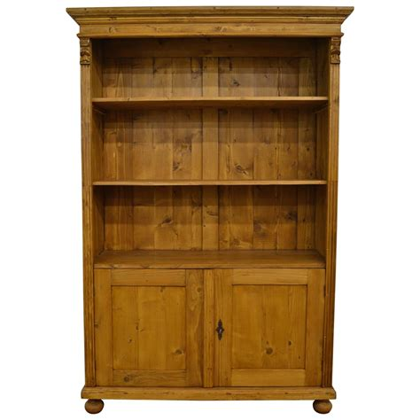 Pine Bookcase With Doors For Sale At 1stdibs