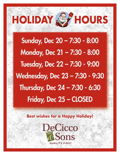 holiday hours decicco sons