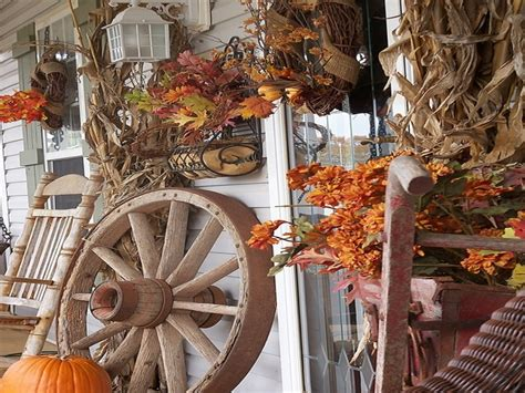 fall front porch decorating ideas rustic fall porch