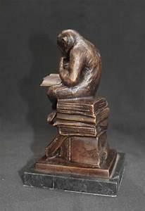 Bronze Monkey Statue Reading Ape Primate