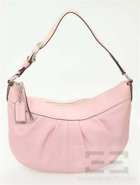 light pink leather purse coach light pink leather and silver detail hobo bag