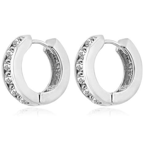 ct ladies  cut diamond hoop huggie earrings   kt white gold