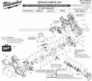 Milwaukee 2625-20 Parts List And Diagram