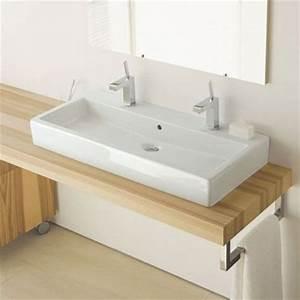 vero vasque a poser 100 cm avec 2 trous de robinets With salle de bain design avec vasque rectangulaire blanche a poser