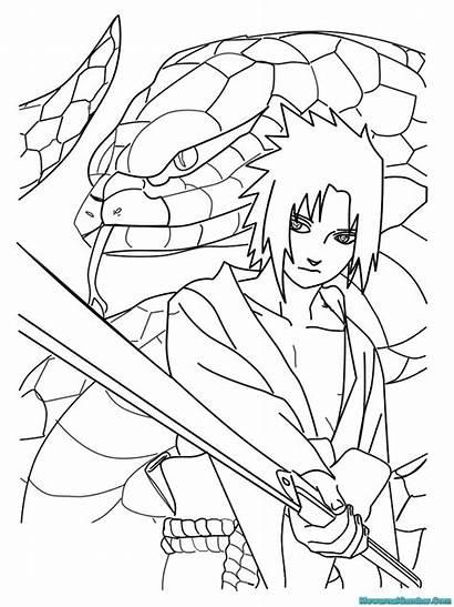Naruto Sasuke Gambar Mewarnai Uchiha Shippuden Sketsa