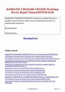 Daihatsu Charade Chassis Workshop Service Repair Manual By