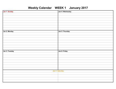 calendar templates weekly 2017 weekly calendar templates