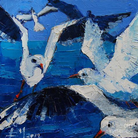 abstract prints for sale the seagulls painting by mona edulesco