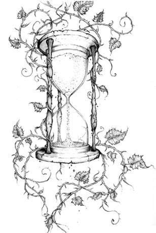 Vintage timer and vines tattoo inspiration | Hourglass tattoo
