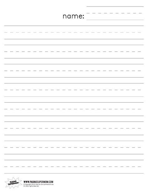 kindergarten lined paper kindergarten writing paper