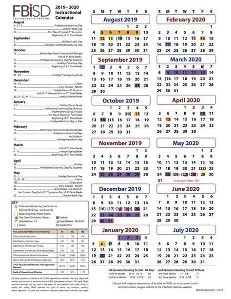 fort bend isd instructional calendar