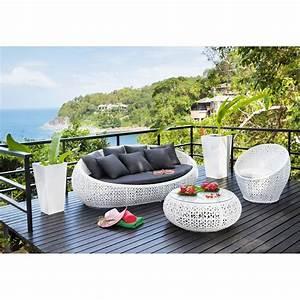 fauteuil de jardin en resine tressee blanc fauteuils de With canape d angle exterieur resine 9 st tropez salon de jardin 6 places en resine tressee et