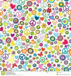 Flower Power Blumen : modello senza cuciture del fondo di flower power con i fiori sig di pace illustrazione ~ Yasmunasinghe.com Haus und Dekorationen