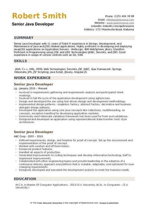 Software Developer Resume Sle by Roles And Responsibilities Of Java Developer In Resume