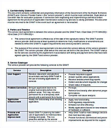 service level agreement outsourcing template service