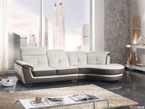 Leather Sofa With Half-round Angle And Reclining Headrests