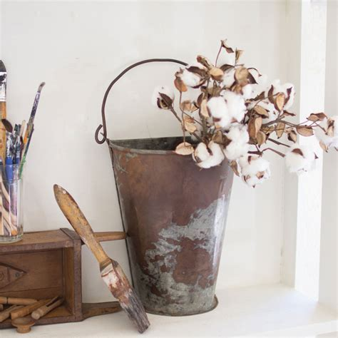 Mkono galvanized metal wall planter olive bucket, 2 sets farmhouse style hanging wall vase planters for cotton stems succulents or herbs, wall flower vases for country rustic home wall decor 4.8 out of 5 stars 389 Galvanized Wall Bucket - Iron Accents