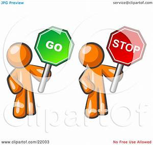Stop And Go : clipart picture illustration of orange men holding red and green stop and go signs by leo ~ Medecine-chirurgie-esthetiques.com Avis de Voitures