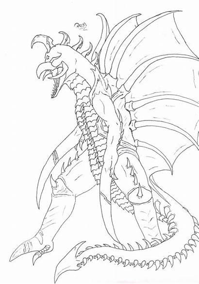 Coloring Gigan Pages Godzilla Kiryu Winged Club