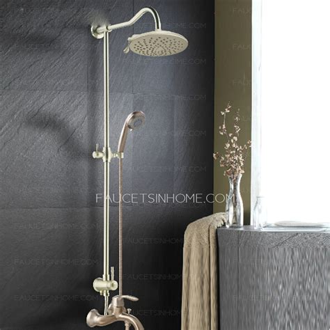 rustic kitchen faucets high end brushed nickel bathroom shower faucet system