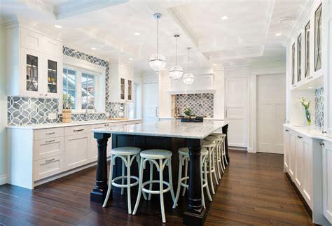 White Kitchen With Blue Gray Backsplash Tile-home Bunch