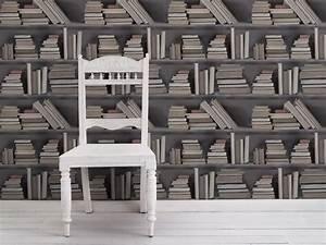 trompe l39oeil tapete vintage bookshelf by mineheart With balkon teppich mit trompe l oeil tapete