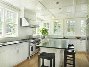 Beadboard ceiling cottage kitchen union studio for Kitchen design with no top cabinets