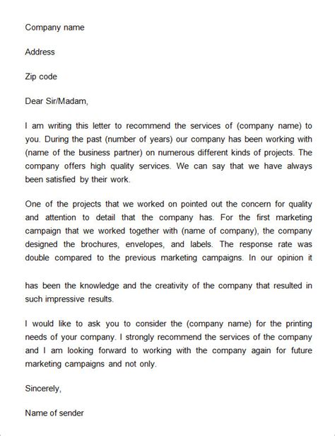 Recommendation Letter For A Company Template by 12 Free Business Reference Letters To Sle