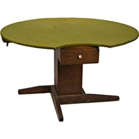 felt top card table early wood round felt top playing card table