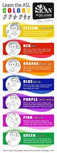 Asl colors chart yellow red orange blue purple pink for Learn language and colors with music color