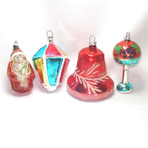 santa l bell lantern 1950s glass christmas ornaments