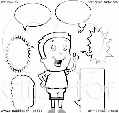 Talk Boy Bubbles Cartoon Coloring Clipart Caucasian