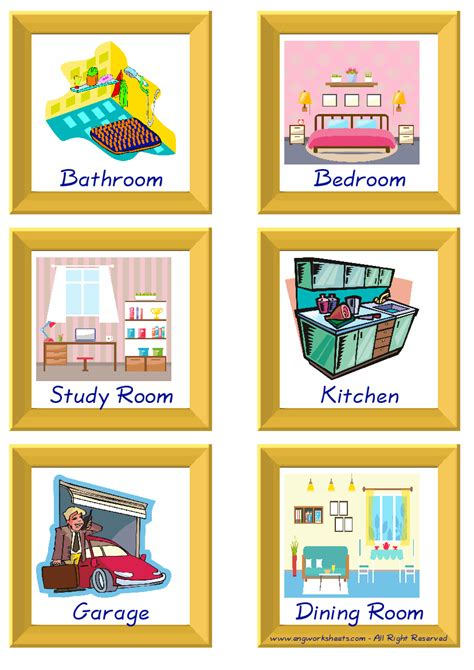 rooms   house esl printable picture english
