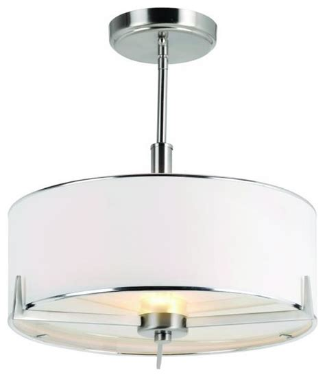two light brushed nickel drum shade semi flush mount