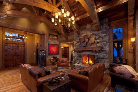 stunning rustic living rooms  charming stone fireplace