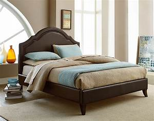 Simplicity, Cathedral, Style, Bonded, Leather, King, Platform, Bed, With, Tack, Head, Trim, By, Standard