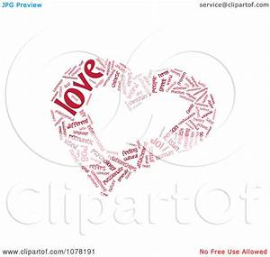 Clipart Red Heart Shaped Love Word Collage - Royalty Free ...