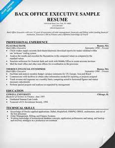 back office executive experience resume back office executive resume sle resumecompanion resume sles across all industries