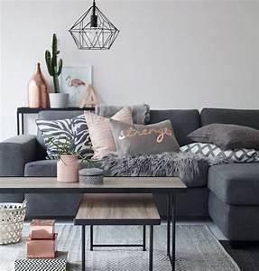 deco salon gris 88 super idees pleines de charme With tapis de couloir avec petit canapé sans accoudoir