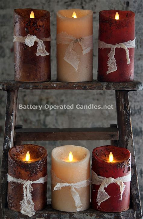 moving flame primitive burgundy candle battery operated