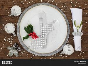 Christmas Dinner Place Setting Image & Photo   Bigstock