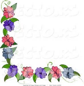 Blue and Purple Flower Border Design
