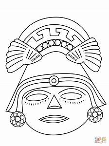 aztec mask coloring page free printable coloring pages With aztec mask template